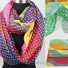 Womens Fashion Scarves Stars Colorful Wavy Stripes Print Long/Infinity Scarf New