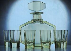 Art Deco Bohemian Citrine Faceted Glass Decanter/Carafe set