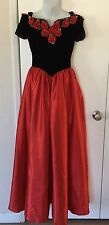 Women's Princess Velour Satin Red Rose Gown Costume Dress SZ S VTG Cos Play