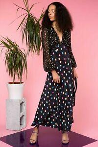 New Rixo London Melanie Watercolour Spot – Black Past SILK Dress Size L UK 14