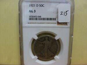 1921-D Walking Liberty Silver Half Dollar - NGC AG-3 #048