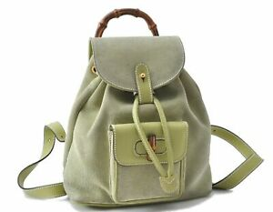 Authentic GUCCI Bamboo Backpack Suede Leather Light Green D5151