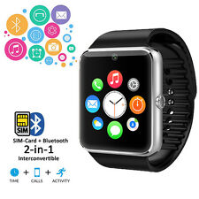 NEW Bluetooth Smart Watch Phone Leather Strap Caller ID Phonebook Messaging Time