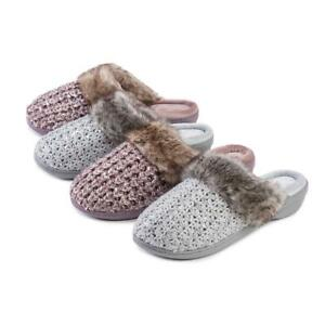 Isotoner Ladies Sparkle Knit Mule With Tipped Fur