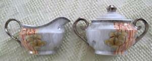 I. Godinger & Co. Silver Gold and Orange Floral Overlay Sugar & Creamer