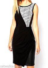 Karen Millen Textured Faux Leather Drape Jersey Party Cocktail Dress 8 36 £170