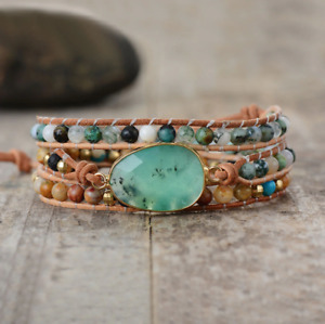 Natural Stone Beaded Jade   African Turquoise   Beads Druzy Geode Wrap Bracelet