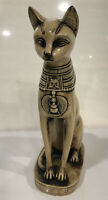 Sphinx Cat Sculpture Wood Resin Carved 11 1/2 Inches High Vintage MCM Egyptian