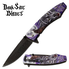 Spring-Assist Folding Knife | Purple Howling Wolf Fantasy Tactical Edc Blade