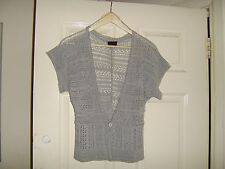 QED London Ladies grey knitted lace vest, sleeveless top, size 12 one button