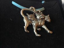 "Cerberus code dr90 In Greek  Made From English Pewter On 18"" Blue Cord Necklace"