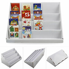 2PCs 4 TIER WHITE COLLAPSIBLE CARDBOARD GREETING CARD DISPLAY STAND