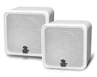 Pyle Home Audio PCB4WT 4 Inch 200W White Mini Cube Bookshelf Speaker System