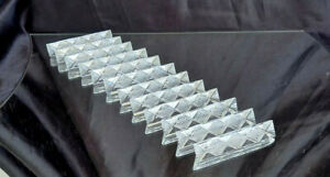 12 x Vintage French Crystal Glass Knife Rests Boxed Porte Couteaux Cristal Set