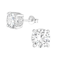 925 Sterling Silver Crystal Cubic Zirconia Circle Stud Earrings (Design 58)