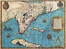 Impresión arte cartel Mapa Antiguo De Bry le moyne Florida Cuba nofl0678