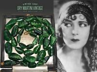 VINTAGE ART DECO BOHEMIAN CZECH MALACHITE SATIN GLASS BEADS NECKLACE RARE GIFT