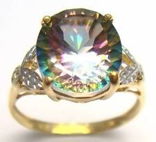 GREAT! 10KT SOLID YELLOW GOLD 4CT MYSTIC TOPAZ & DIAMOND RING SIZE 7  R929