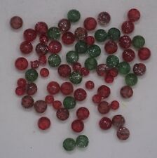 Mixed Lot of 73 Vtg Clear Spherical Glass Shank Buttons Glitter Red Pink Green