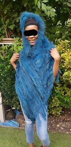 Teal real fur poncho / cape with hood