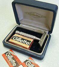 Vintage Gillette TECH Double Edge Safety Razor Set - Argentina