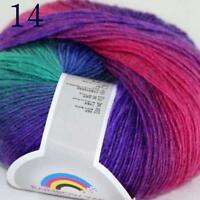 Sale Soft Cashmere Wool Colorful Rainbow Wrap Shawl DIY Hand Knit Yarn 50gr 14