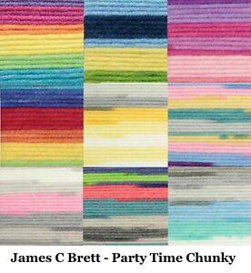 Party Time Chunky Wool James C Brett Chunky Knitting Yarn 100g Balls 11 Colours