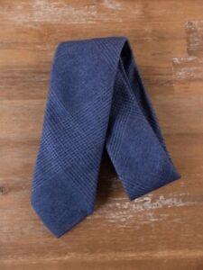 ERMENEGILDO ZEGNA blue glenplaid plaid motif silk tie authentic