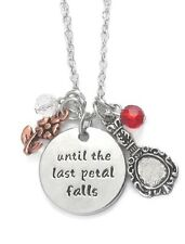 "Multi Charm Circle Pendant ""Until Last Petal Falls"" Necklace Disney inspired"