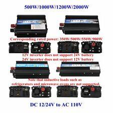 US Portable Car Power Inverter WATT DC 12V/24V to AC 110V Charger Converter