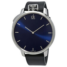 Calvin Klein Exceptional Blue Dial Mens Leather Watch K3Z211CN