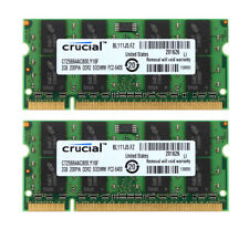 4GB 2X 2GB For Crucial 2Rx8 PC2-6400S DDR2 800Mhz SODIMM RAM Laptop Memory CL5 @