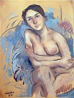 "Nude Female Portrait Impressionism Oil Painting 18""x24"" Original Signed Canvas"