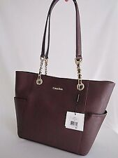 Calvin Klein Saffiano Leather Tote & Dust Bag Rum Raisin Gold Tone hardware NWT