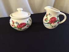 Hand Painted Floral Emerson Creek  (Bedford, VA) Creamer & Sugar Bowl