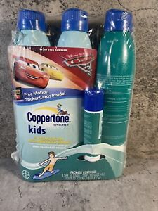 Coppertone Sunscreen Kids 50 SPF 3 PAck + 1 Stick 55 SPF With Cars Sticker Cards