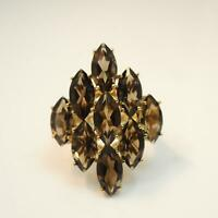 9 Carats Smoky Quartz Womens Cluster Ring - Solid 9ct Gold