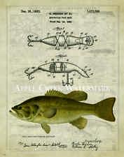 Fishing Lure Patent  Poster Art Print Vintage 11x14 Heddon Bass Fish  PAT390