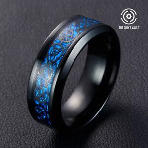 Men's Ring Dragon Celtic Tungsten Titanium Steel Wedding Fashion Band 8mm silver