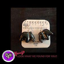 "Vintage WORLD WILD LIFE RINO EARRINGS 3/4"" X 3/4"" EACH GEM STONE"
