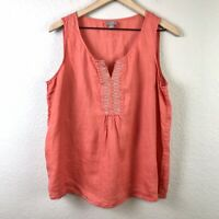 J.Jill Women's L Petite Linen Tank Top Embroidered Beaded Trim Top