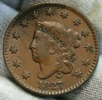 1827 Penny Coronet Large Cent - Nice Coin, Free Shipping  (9744)