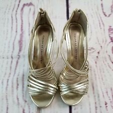Chinese Laundry Shoes Heels Sandals Women's Sz 8 / 39 Gold Zipper Back