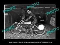 OLD 8x6 HISTORIC PHOTO OF LYON FRANCE ALCYON MOTORCYCLE RIDER IN RACE 1924