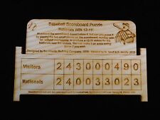 Baseball Scoreboard puzzle - made from Maine Ash - sneaky hard - made USA