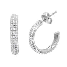 925 STERLING SILVER HOOP EARRINGS W/3 ROW MAN MADE DIAMOND ACCENTS/ NEW DESIGN!!