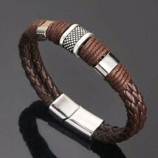 Men Women Leather Braided Titanium Magnetic Steel Clasp Bracelet Bangle Jewelry