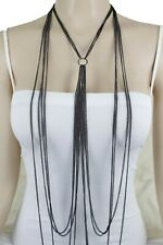 Body Chain Long Necklace Ring Charm Dressy Women Fashion Jewelry Set Black Metal