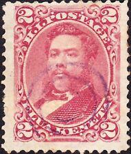 Hawaii - 1886 - 2 Cents Dull Red King David Kalakaua #43a w/ Light Target Cancel