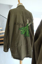 Zara Khaki Cotton Oversized Embroidered Shirt Parka Jacket Size L